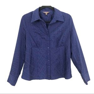 Jessica Purple Button Down Stretchy Blouse
